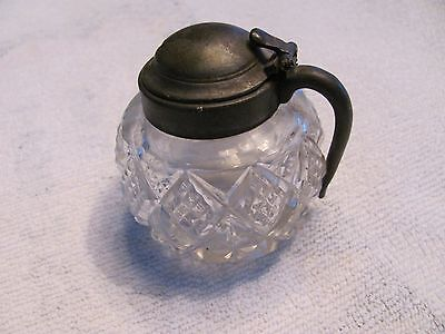 Antique Silver Top Cut Glass Ink Well.