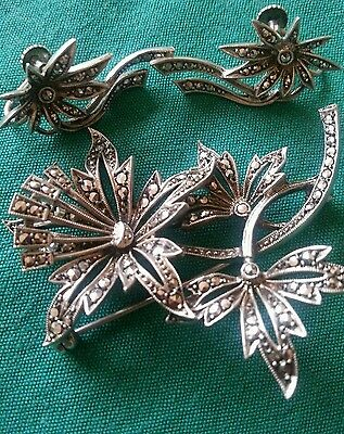 Silver and Marcasite Brooch with Earings