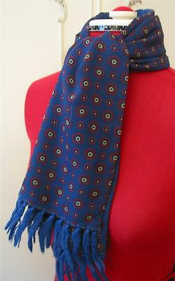 Vintage 1960's Navy & Red Printed Acetate & Blue Wool Scooter Scarf Tootal Sammy