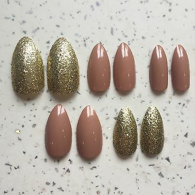 Nude And Gold Glitter Hand Painted Stiletto False Nails (20 Nails/2 Sets)