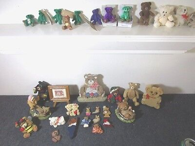 large estate lot of Teddy Bear collectibles figurines plush miniatures magnets +
