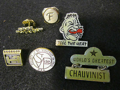 lot of 6 collectible pinbacks mixed lot of pins St. Vincent De Paul chili more