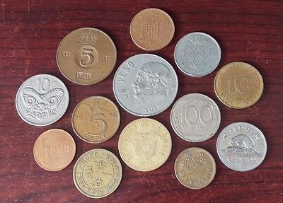 Lot of 13 Foreign Coins - Circulated