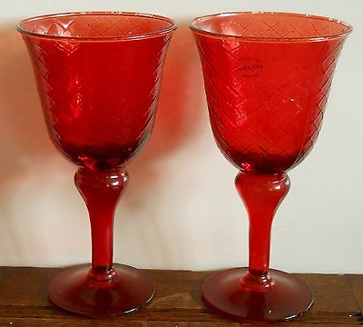 "A pair of Doulton glassware Hand decorated large 8"" ruby goblets"