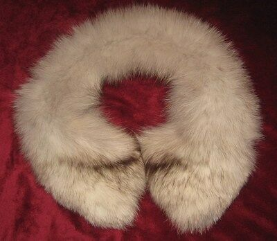 "VINTAGE White with Silver and Brown highlights Fox Fur Collar 28"" Long 6"" Wide"