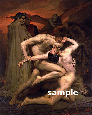 Male Nude Bouguereau DANTE AND VERGIL IN HELL - Large Fine Art Print on Canvas