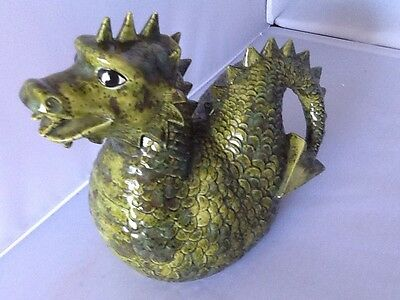 "Green Pottery Dragon Piggy Bank 8.5"" Tall Signed Jo 1984"