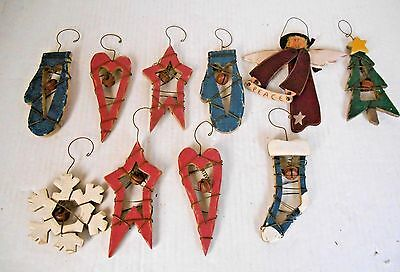 CHIC CHRISTMAS SET 10 WOOD WIRED ORNAMENTS w HANGERS & BELLS HPAINTED