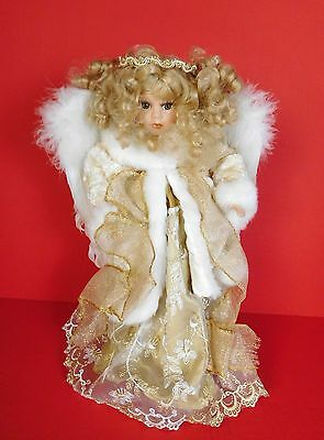 Glistening Gold White Winter Holiday Table Top Porcelain Angel