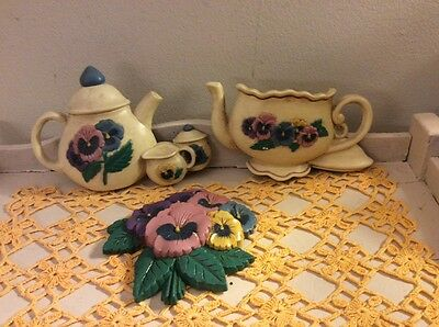 Home Interiors Tea/Coffee/Pansies Wall Plaques, Made in USA