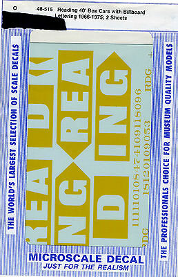 Microscale Decals - 48-515 Reading 40' Box Cars Billboard Lettering - O Scale