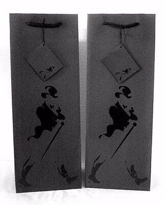 Johnnie Walker Whisky Black Paper Wine Liquor Gift Bag New Old Stock 2 Pack