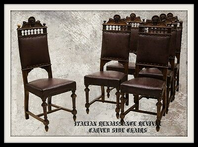 (6) ITALIAN RENAISSANCE REVIVAL CARVED SIDE CHAIRS, 19th Century ( 1800s )