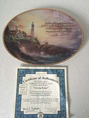 "Bradford Exchange Thomas Kinkade's ""clearing Storms"" Oval Plate"