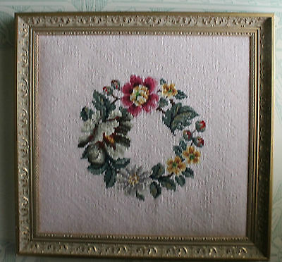 "PEONY FLORAL WREATH Needle Point NEEDLEPOINT 17"" W X 17.5"" T GOLD FRAME."