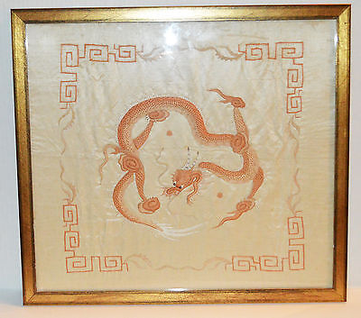 Antique Framed Chinese Embroidery Fierce Dragon Asian Motifs Wall Decor