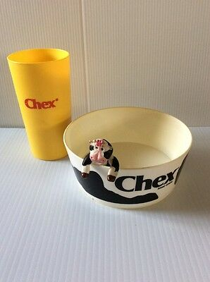 CHEX COW ADVERTISING MASCOT FIGURE W/ CHEX CEREAL BOWL and Yellow 70s Glass
