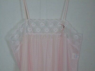 Vintage Sheer Pink Lace Long Lingerie Nightgown 34/36