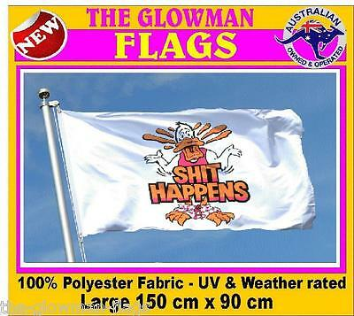 SHIT HAPPENS flag party flag novelty flag for man cave or fun wall hanging