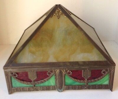 Antique Brass & Stained Glass Table Lamp Shade Arts & Crafts Mission