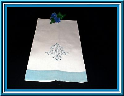 Fabulous Antique Sturdy Linen Large Towel With H. Embroidered Design 41 By 24 In