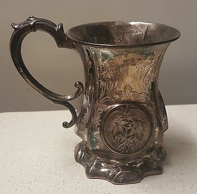 1854 George Unite Birmingham 925 Sterling Silver Chased Repousse Antique Cup