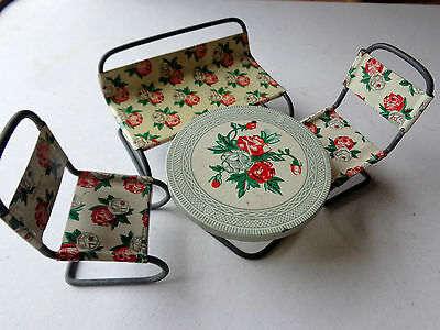 Vintage Japan Tin Toy Doll's Furniture  c1950 4 piece setting