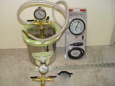 VACUUM CHAMBER WITH VACUUM GAUGE'S SLICK VAC SEAL CHAMBER with VALVES NEW