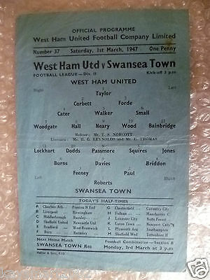 1947 League Div II WEST HAM UNITED v SWANSEA TOWN, 1 March, Rare Emergency Issue