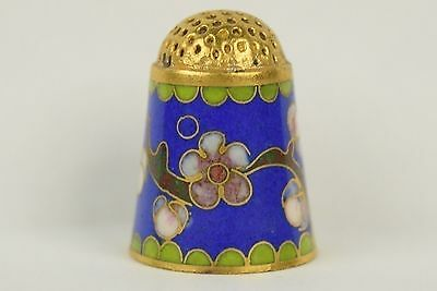 Beautiful Blue Background & Cherry Tree Cloisonne Thimble - Sewing Collectibles
