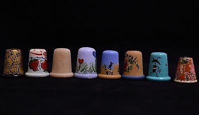 Lot of Eight Decorated Wooden Thimbles - Sewing Collectibles