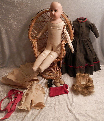 "Antique ARMAND MARSEILLE GERMANY DOLL  18"" BISQUE HEAD LEATHER & CORK BODY 1900"