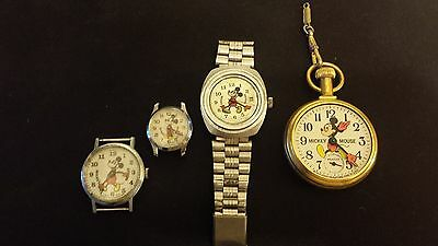 4 Disney Mickey Mouse Bradley Watches, Need Parts Or Repairs