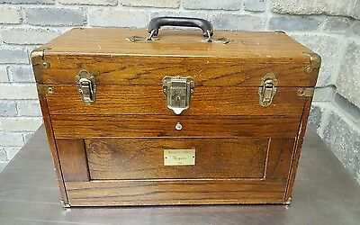 """Vintage 20"""" Oak 7-Drawer machinist Tool Chest Toolbox National Tool & Chest STAR"""
