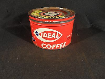 Vintage 1 Lb Ideal Coffee Tin Can Key Wind American Stores Philadelphia Pa #1