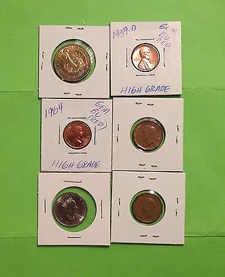 Quantity Of 2, U.S. Coins & 4 Canada (Dollar,1Cent &Quarter) Nickel/Copper Coins