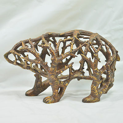 Unique Looking Bear Figurine Shaped Like Made From Tree Branches - Very Cool!