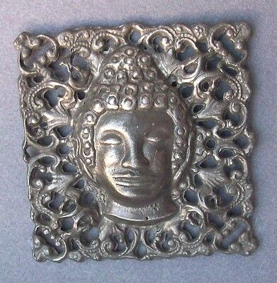 BUTTON Vintage Square Lacy Man's Head African Metal