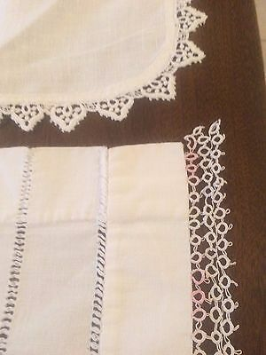 2 VTG Table Runner Scarf Crochet Tatted Weave White Pink Nice Use or Cutter Lot