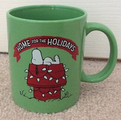 """PEANUTS Snoopy HOME FOR THE HOLIDAYS MUG~2015~3-7/8""""H ~ New"""