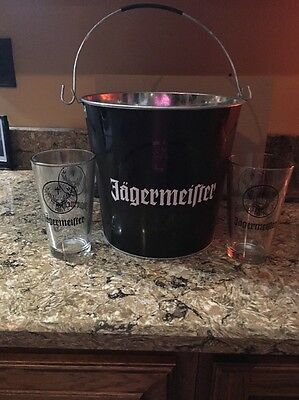 Jagermeister Black Metal Bucket W/ 2 Glasses
