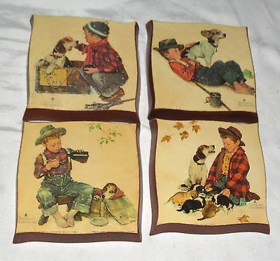 Norman Rockwell FOUR Wooden Plaques Boys Doing Things.