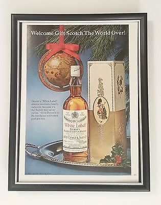 B3G1 Dewar's White Label Original Full Page Ad Vintage 1966 60s FRAMED!