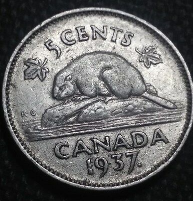 Canada  1937 Five Cents  Nickel Ruler: George VI  FREE SHIP
