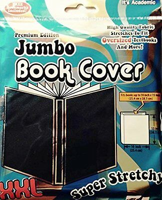"2 EACH ""IT'S ACADEMIC"" STRETCHABLE  FABRIC OVERSIZE  BOOK COVERS (10"" x 15"") NIB"