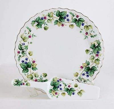 Andrea By Sadek White Gilded Edge Berry Vine Cake Plate And Server Set G51