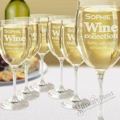 Set of 6 Personalised Wine Glasses Birthday Gift Present Mothers Day Idea Glass