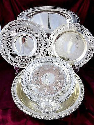 Vintage MIXED SILVERPLATE LOT Plates & Bowls BIRKS, P.W. ELLIS, PORTUGAL, ITALY