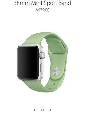 Genuine Authentic Apple Watch Silicon Sports Band 38mm S/M M/L Mint Green