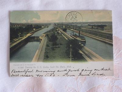 Antique Pc Ships At Us Locks, Sault Ste.marie, Michigan, Used 1906